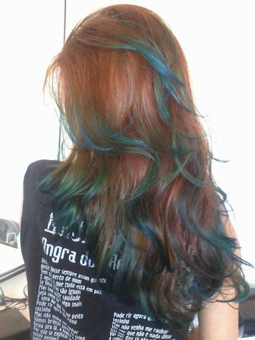 Most Popular Tags For This Image Include Ginger Blue Highlights And Redhead Underlights Hair Hair Oil Slick Hair
