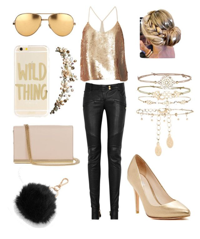 """gold, gold, and more metallic gold."" by meganjl on Polyvore featuring TIBI, Balmain, Cole Haan, Sonix, Linda Farrow, Diane Von Furstenberg, Mudd, Accessorize and metalliclips"