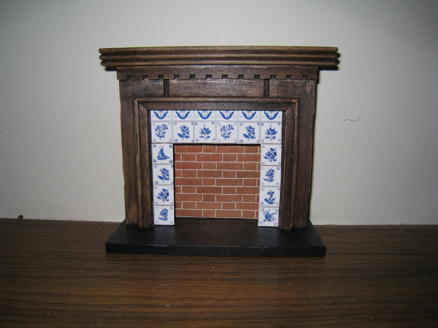 Fireplace, country style with tiled surround,dark oak, twelfth scale miniature - want!