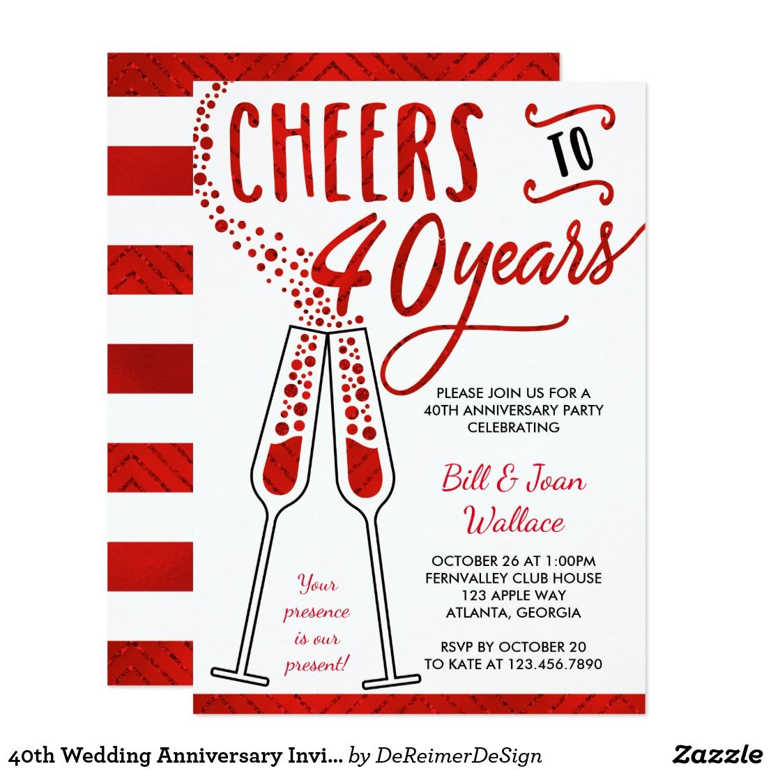 40th Wedding Anniversary Invitation, Faux Glitter Card | 40th ...