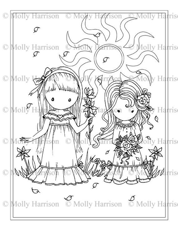 Flower girls coloring page printable whimsical sisters friends best friends molly harrison fantasy art instant download