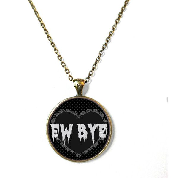 90s Soft Grunge Pastel Goth Black Nu Goth Heart Drippy EW BYE Necklace... (20 AUD) ❤ liked on Polyvore