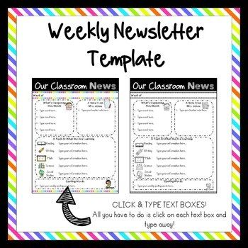 Editable Classroom Newsletter Templates  Color  Black And White