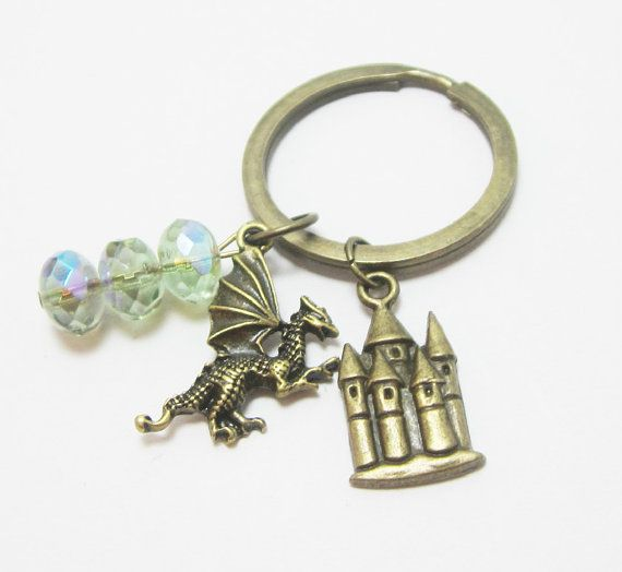 Medieval Fantasy Bronze Dragon and Castle Charm by WhispySnowAngel, $10.99