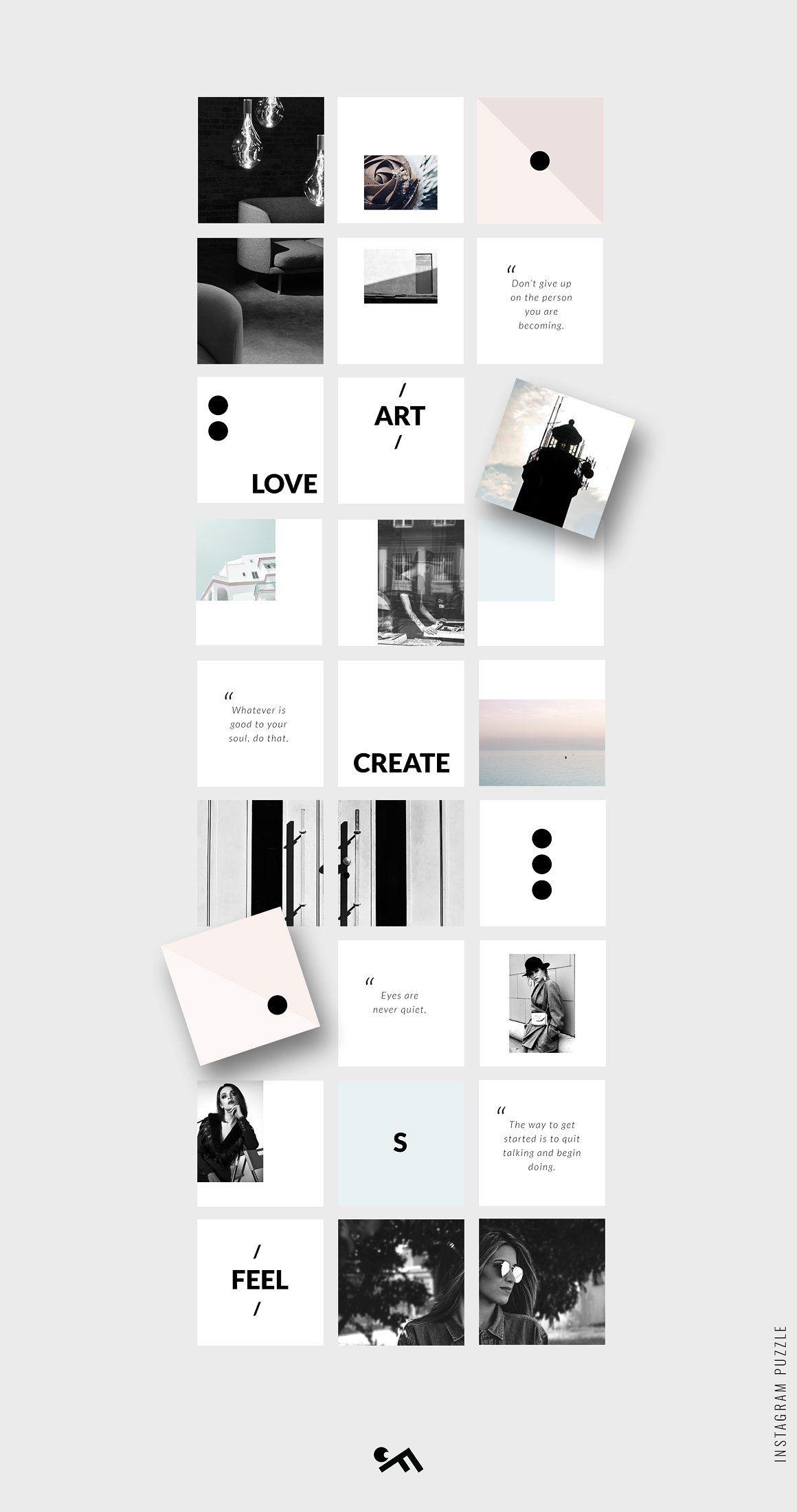 Instagram Puzzle Template Minimal Instagram Template Design Instagram Grid Design Instagram Feed Layout