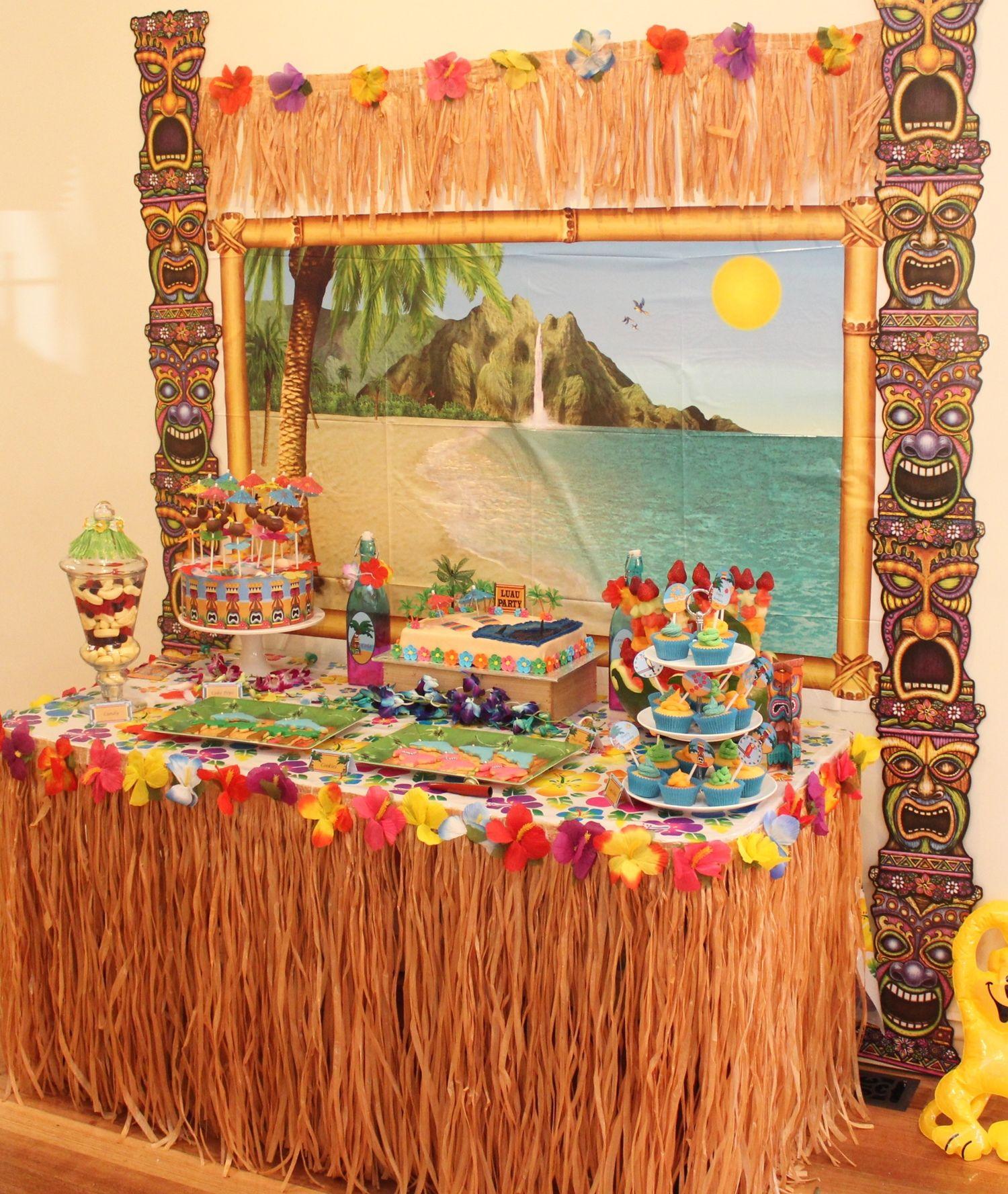 Hawaiian luau party with desert table and games hawaiian