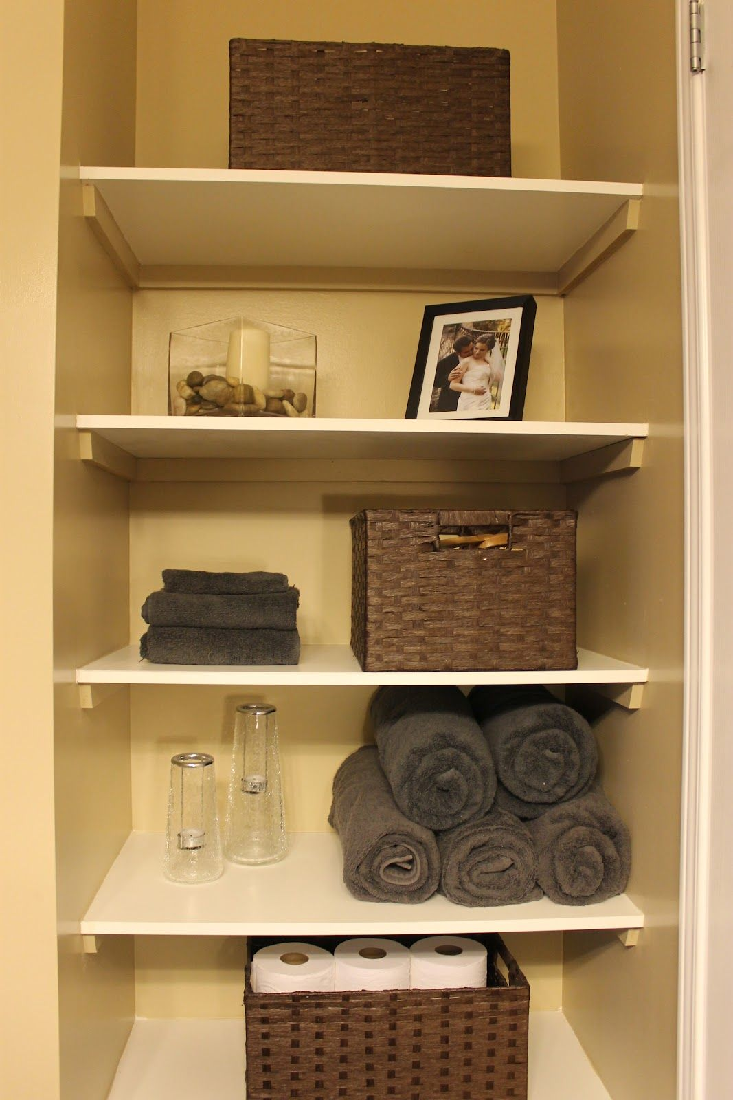 diy organizing open shelving in a bathroom for the home pinterest open shelving. Black Bedroom Furniture Sets. Home Design Ideas