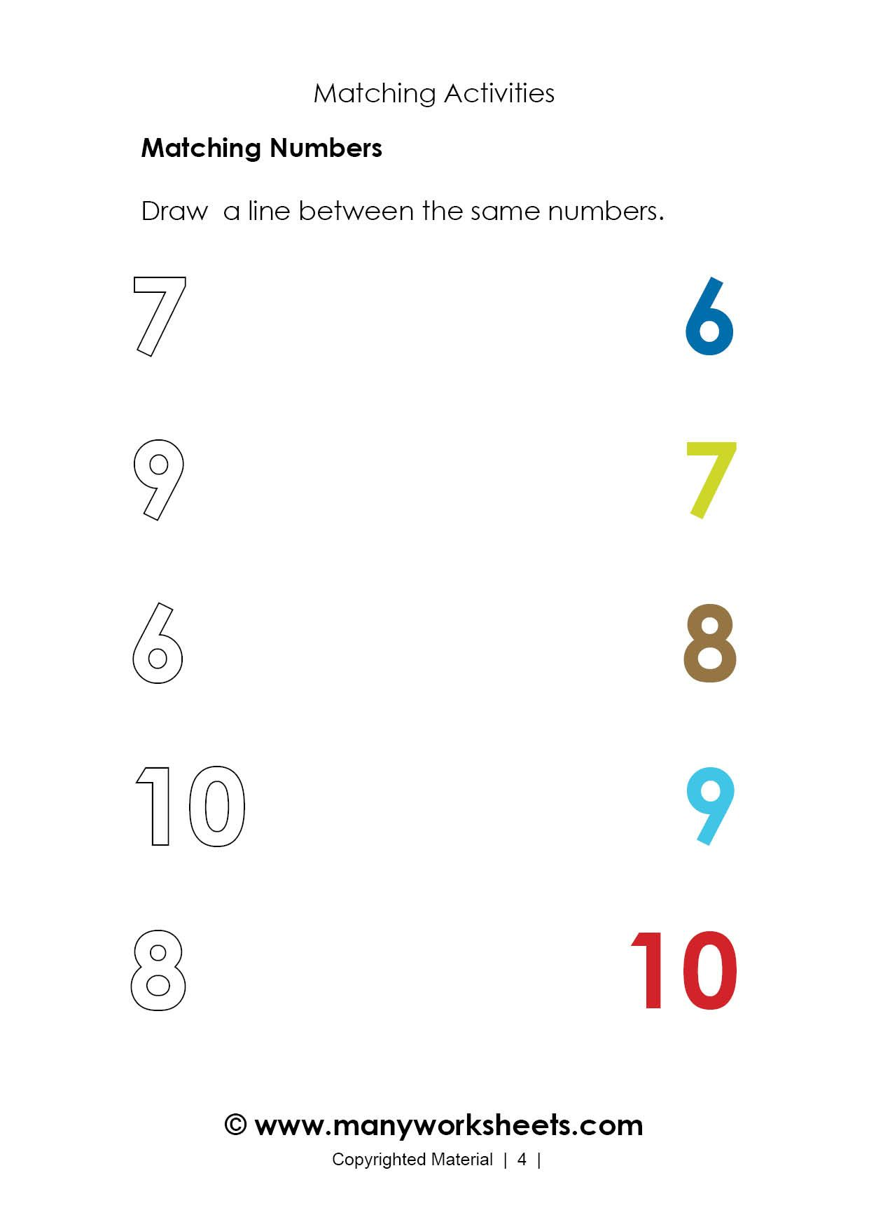Number Matching Worksheets 6 10 For Kindergarten