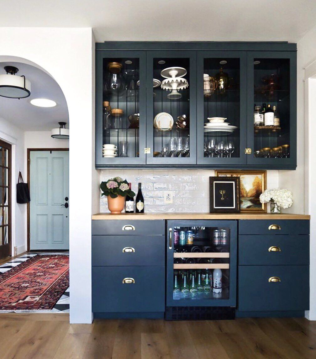 Navy Kitchen With A Stunning Built In Crockery Cabinet Design Home Bar Cabinet Crockery Unit Design