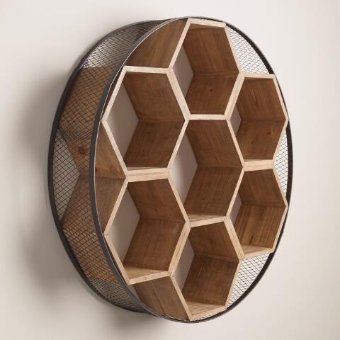 Round Metal and Wood Honeycomb Wall Storage Madera contrachapada - muebles en madera modernos