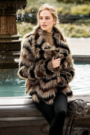 Buy Chevron Faux Fur Jacket from the Next UK online shop ...