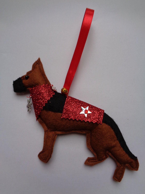 handmade felt christmas german shepherd dog hanging decoration by