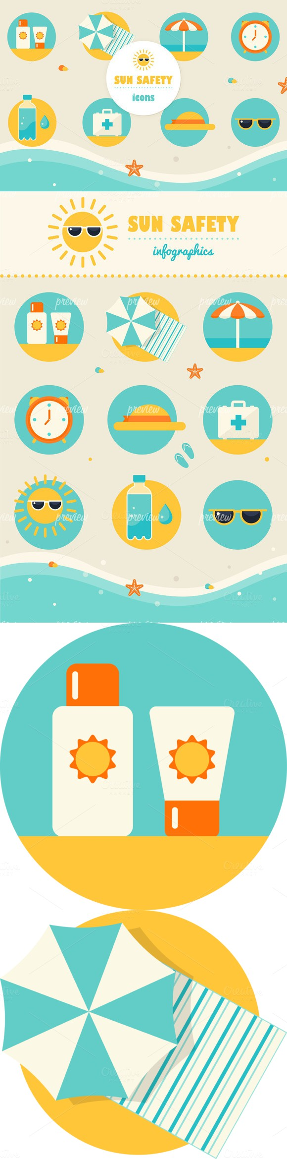 Sun Safety Infographics Elements Infographic