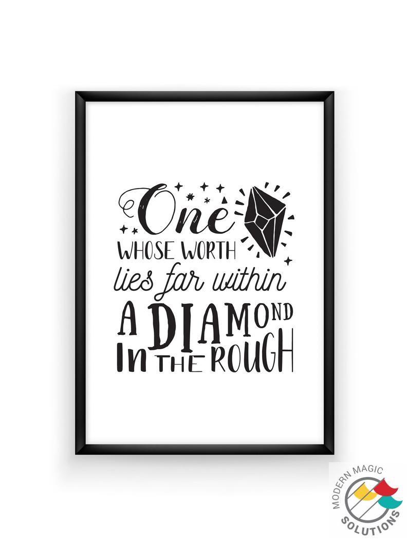 One Whose Worth Lies Far Within A Diamond In The Rough Etsy Calligraphy Quotes Disney Inspirational Quotes Disney Aladdin Quotes
