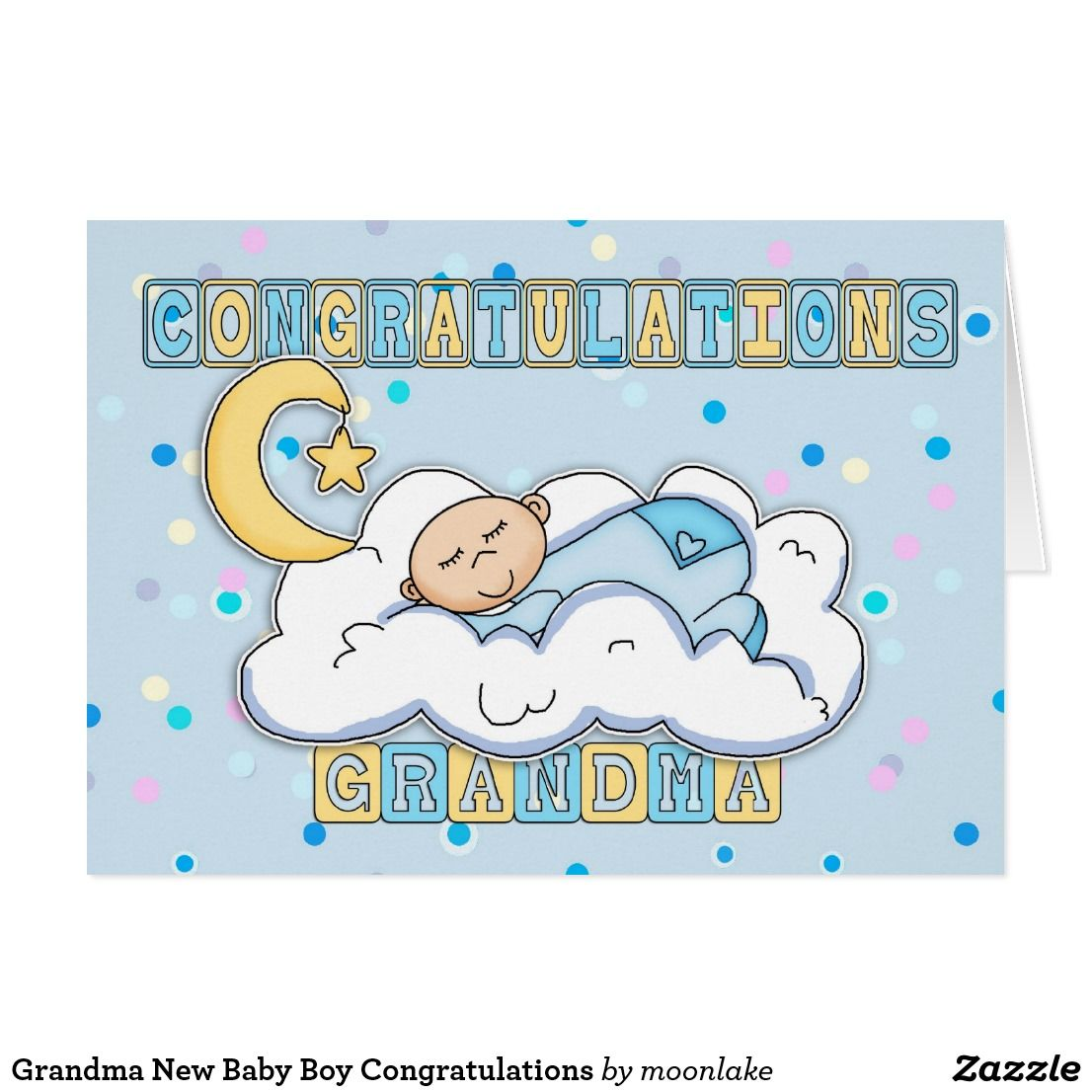 Grandma New Baby Boy Congratulations Card | Zazzle.com ...