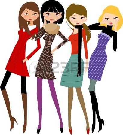 cuatro mujeres foto de archivo mujeres moda dise o belleza rh pinterest com free pretty girl clipart pretty teenage girl clipart