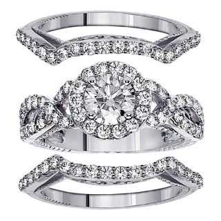 14k White Gold 2 35ct TDW Diamond Halo Bridal Ring Set FG SI1