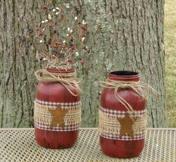 PRIMITIVE RUSTY STAR HOLDER votive jar candle christmas america *RUSTIC GOODS*