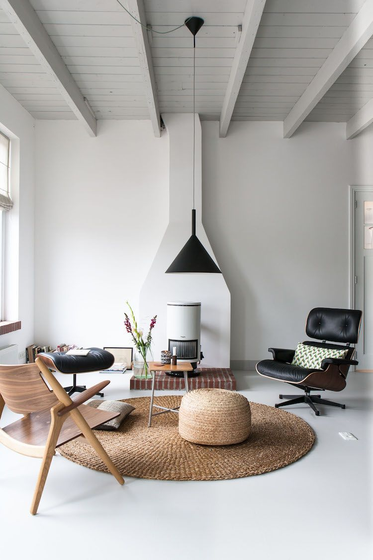 living room + round rug + mcm furniture + country modern ...