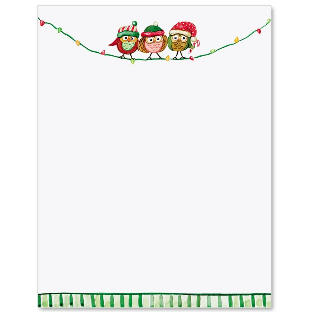 Merry Owls Letter Paper  Ideaart  Thinking Holidays