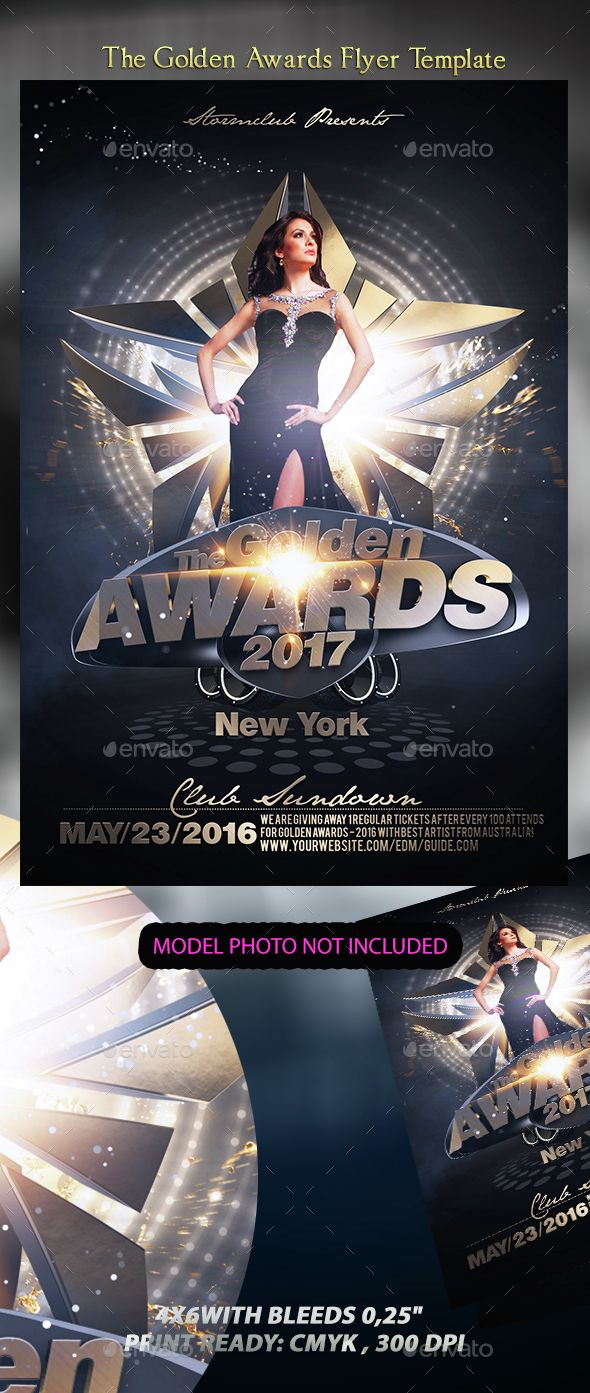 The Golden Awards Flyer Template | Flyer template, Template and ...