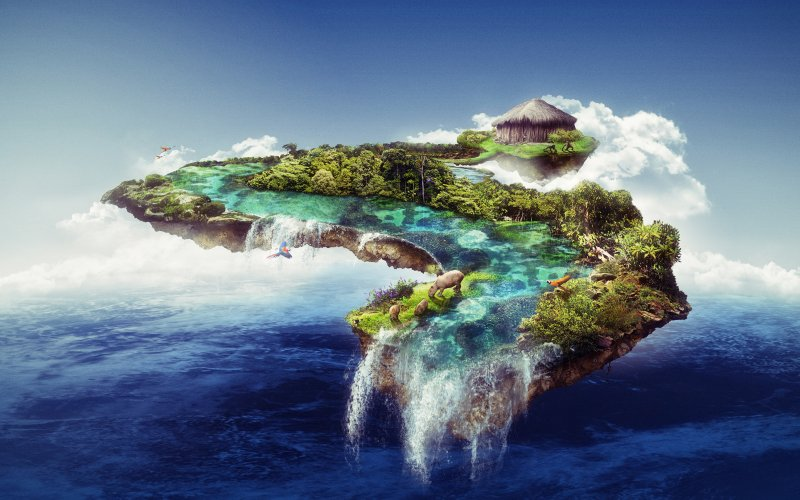 Desktop Wallpaper Floating Island Waterfall Clouds Wildlife Sea Fantasy Hd Image Picture Background B42a79 Clouds Fantasy Floating