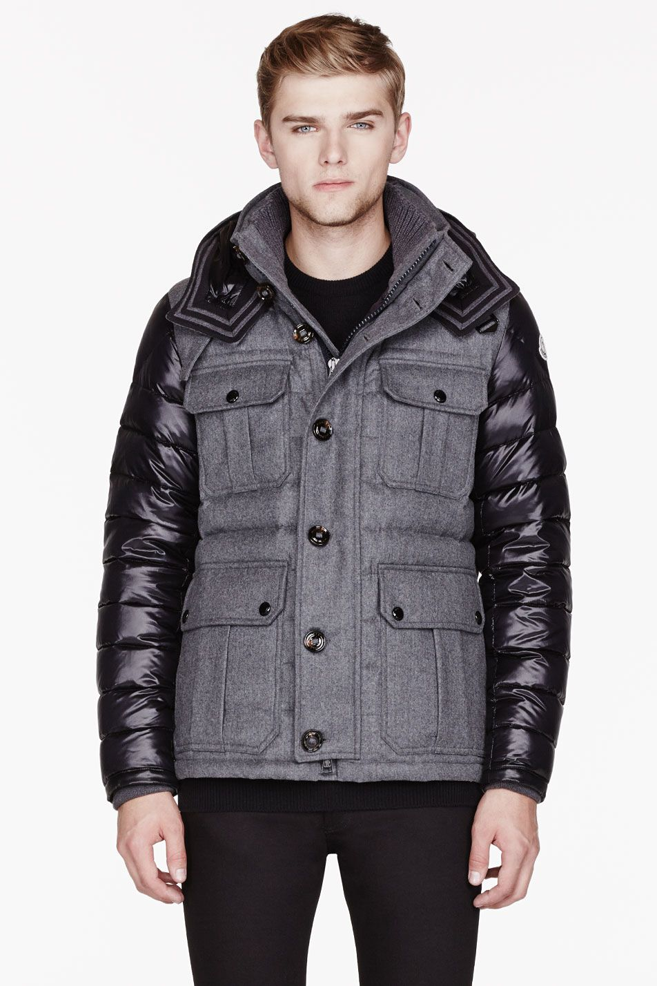 MONCLER Grey Wool & Nylon Quilted Nicolas jacket, Available in our Boston and Cambridge location!