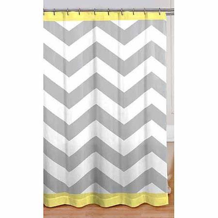 Mainstays Yellow Chevron Shower Curtain 1 Each Walmart Com Chevron Shower Curtain Yellow Shower Curtains Fabric Shower Curtains