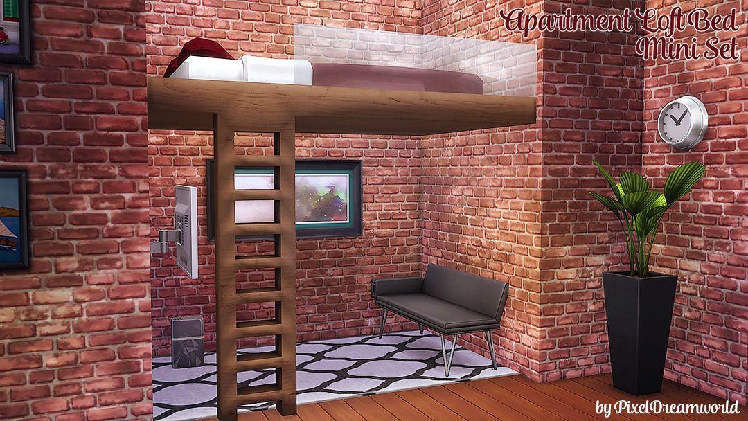 PixelDreamworld — Apartment Loft Bed A Mini Set By