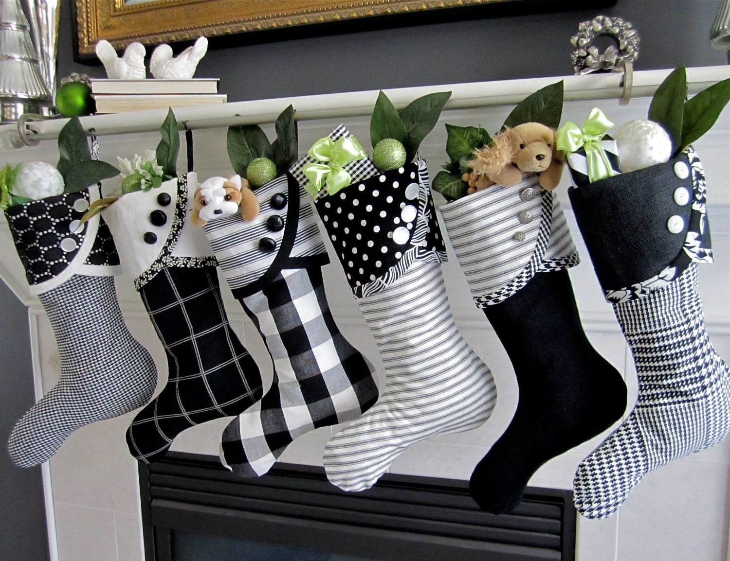 Christmas Stocking Black White Graphic No 2 Droopy Toed Style