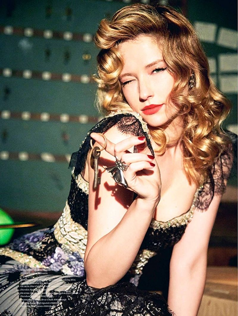 haley bennett vs magazine fall winter photoshoot haley actress haley bennett gives a wink in rodarte lace dress and jewelry for vs magazine fall