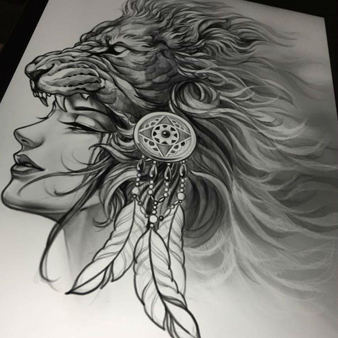 Elvin Yong Lion Head Tattoos Headdress Tattoo Warrior Tattoos