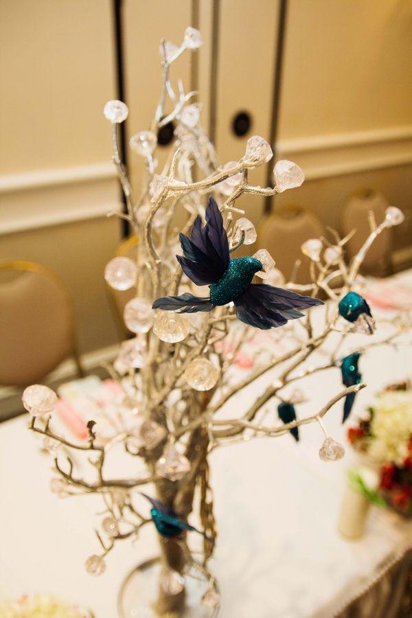 Arreglo floral con cristales sencillo y elegante - Cristales para mesa ...