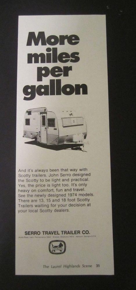 1974 - serro #travel trailer co  - scotty trailers - #vintage print