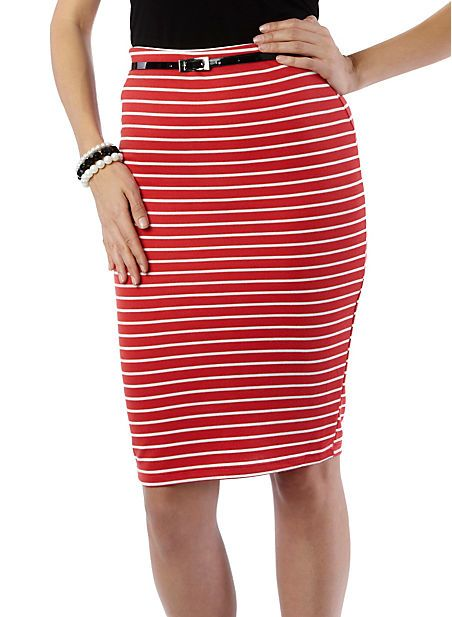 Striped Mid-Length Pencil Skirt with belt