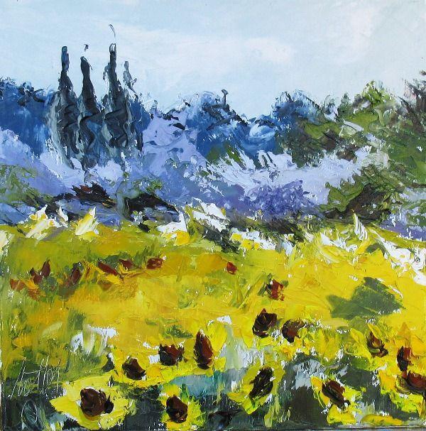 peinture originale paysage proven al l 39 huile au couteau campagne fleurie peintures par les. Black Bedroom Furniture Sets. Home Design Ideas