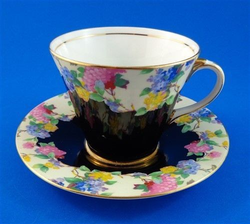 Art Deco Black and Floral Chintz Border Aynsley Tea Cup and Saucer Set