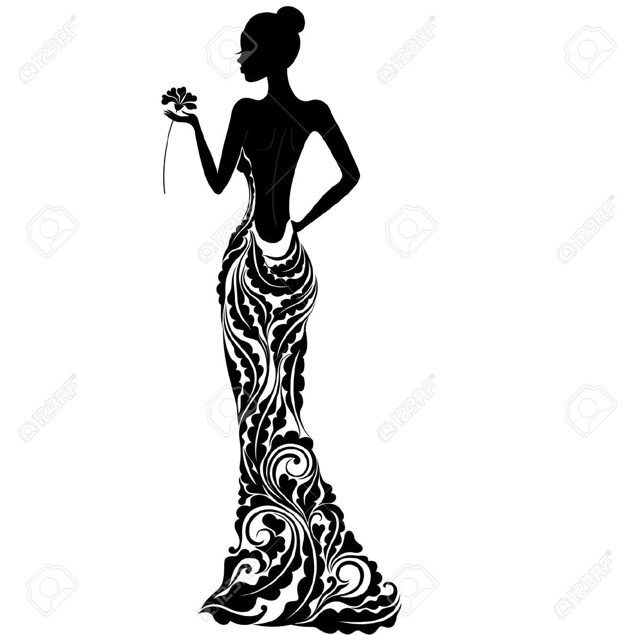 19088154-Girl-in-a-dress-with-floral-ornament-Stock-Vector ...