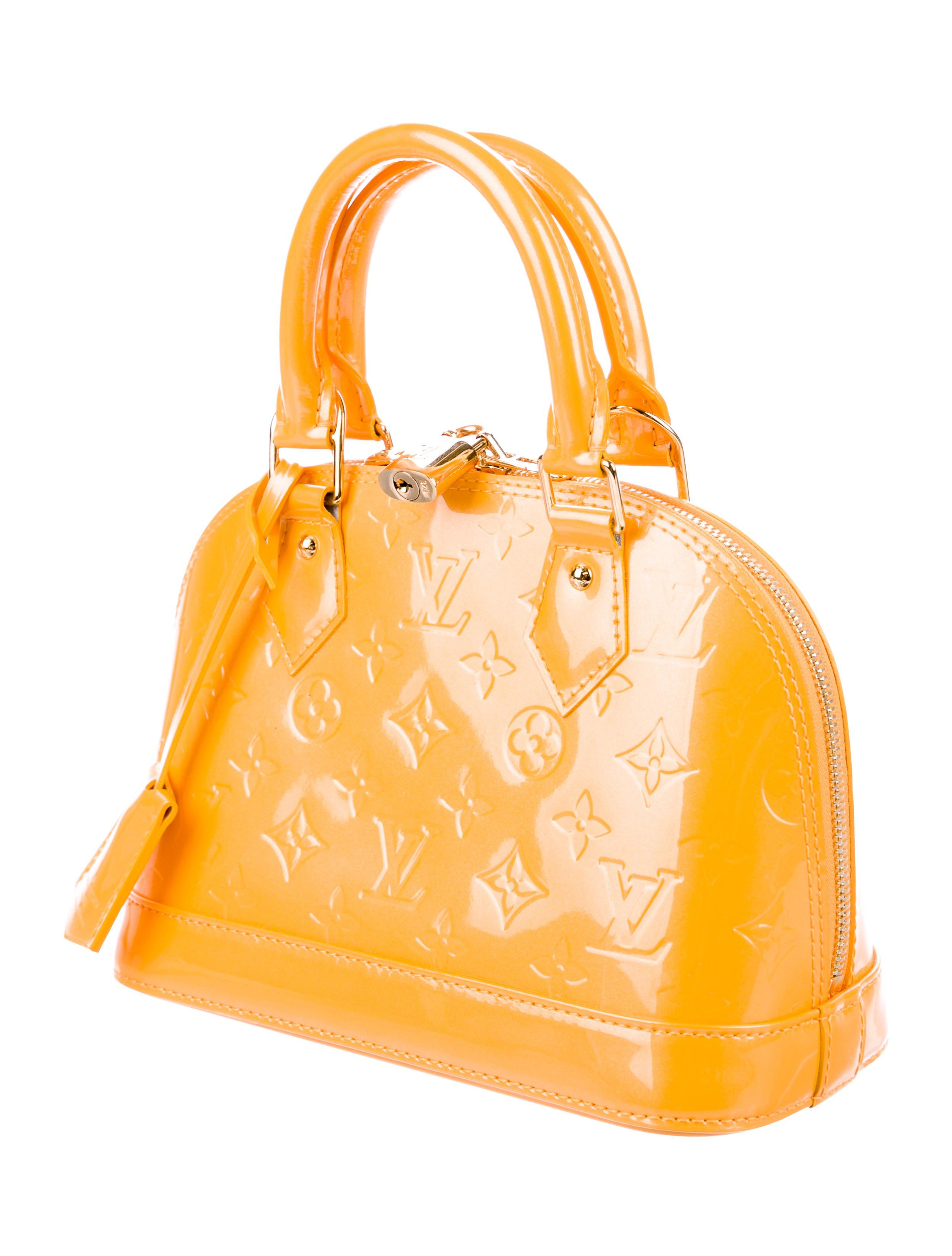 e12f2ba4d1 Mimosa monogram Vernis leather Louis Vuitton Alma BB with brass hardware,  dual rolled top handles, single detachable flat shoulder strap, protective  feet at