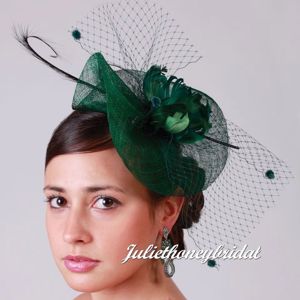 Green Fascinator Hat Kentucky Derby Birdcage Veil Wedding