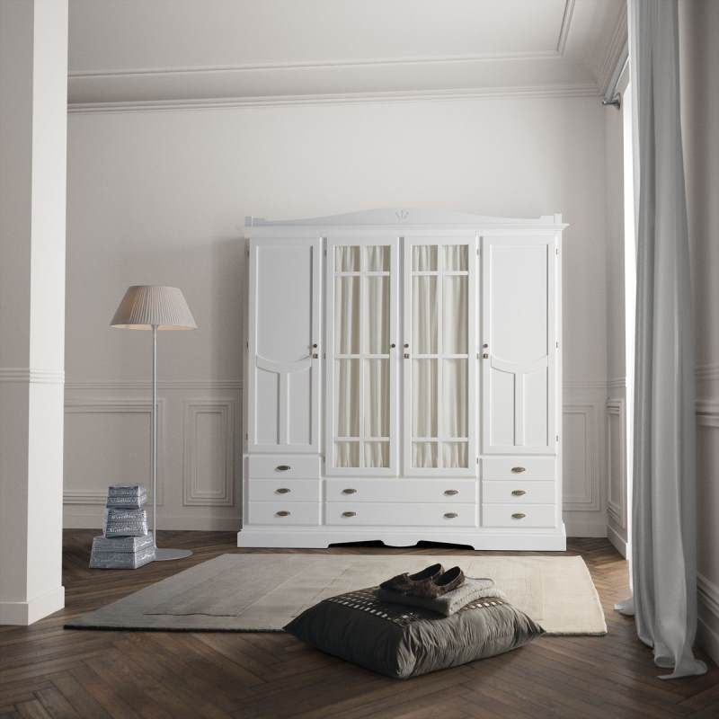 Armario decco 4 puertas blanco tosca lacado armarios de - Armario dormitorio blanco ...