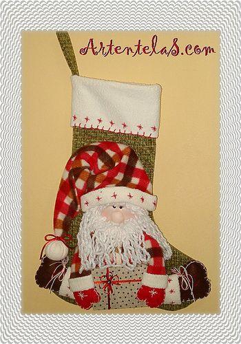 Bota papá Noel | christmas stockings | Pinterest | Papa noel ...