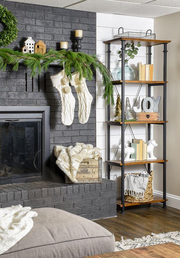 Modern Farmhouse Neutral Christmas Mantle
