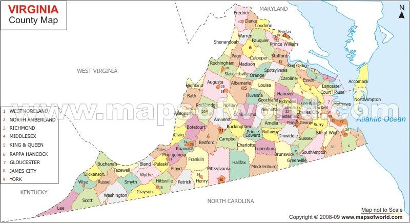 Virginia Counties Map | Genealogy | Pinterest | County map, Map and ...