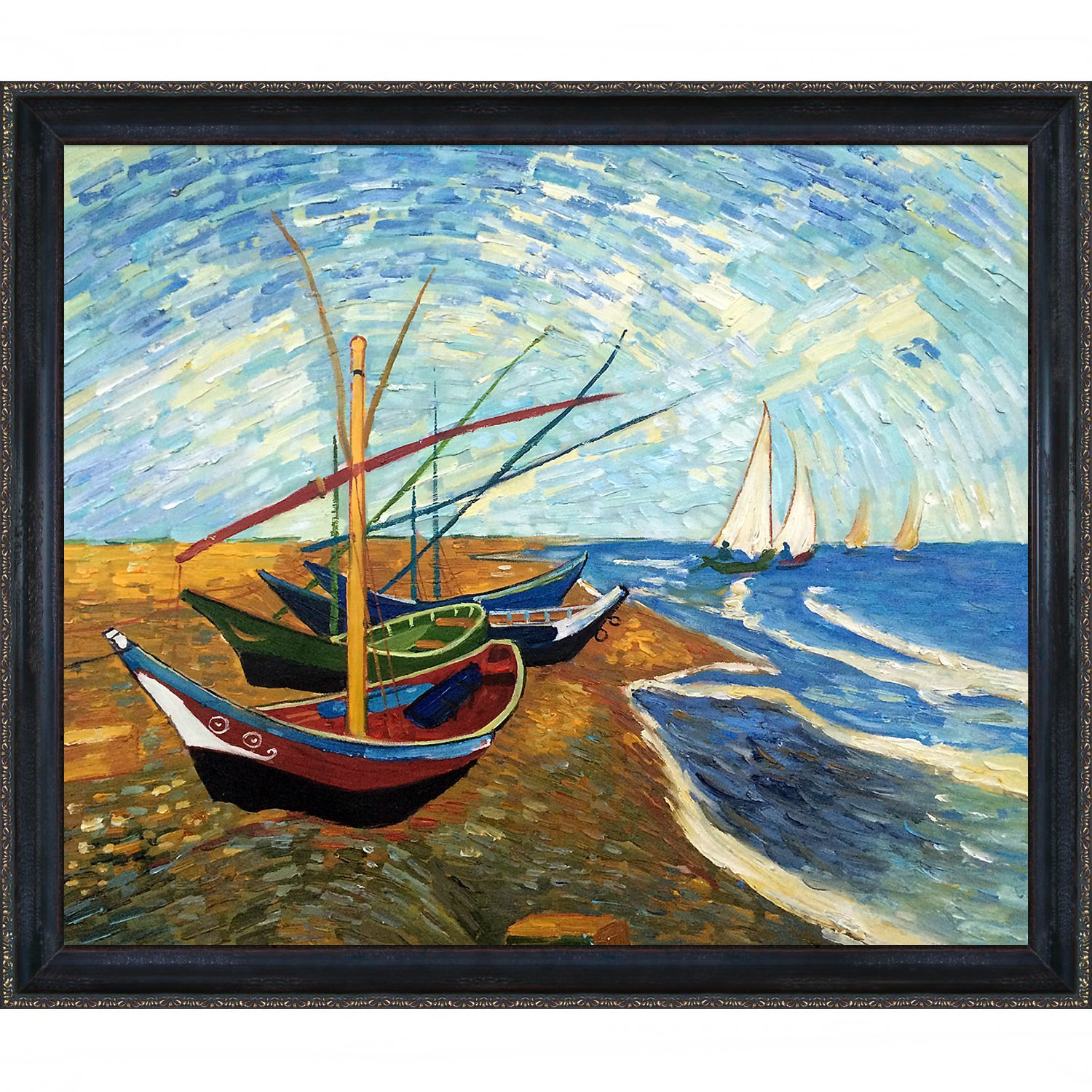 La Pastiche Vincent van Gogh \'Fishing Boats on the Beach at Saintes ...