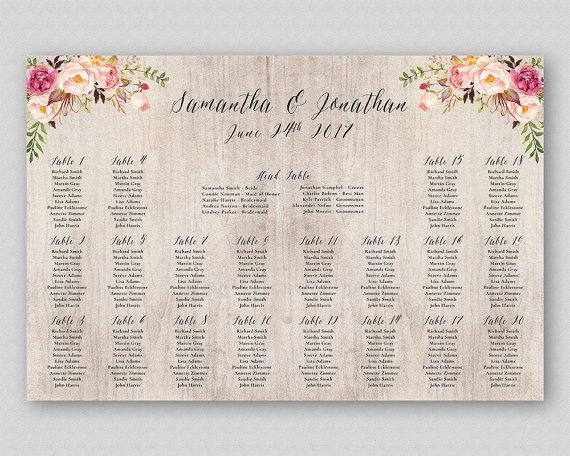 Boho Wedding Seating Chart Printable Table Plan Board Digital Template Poster Watercolor