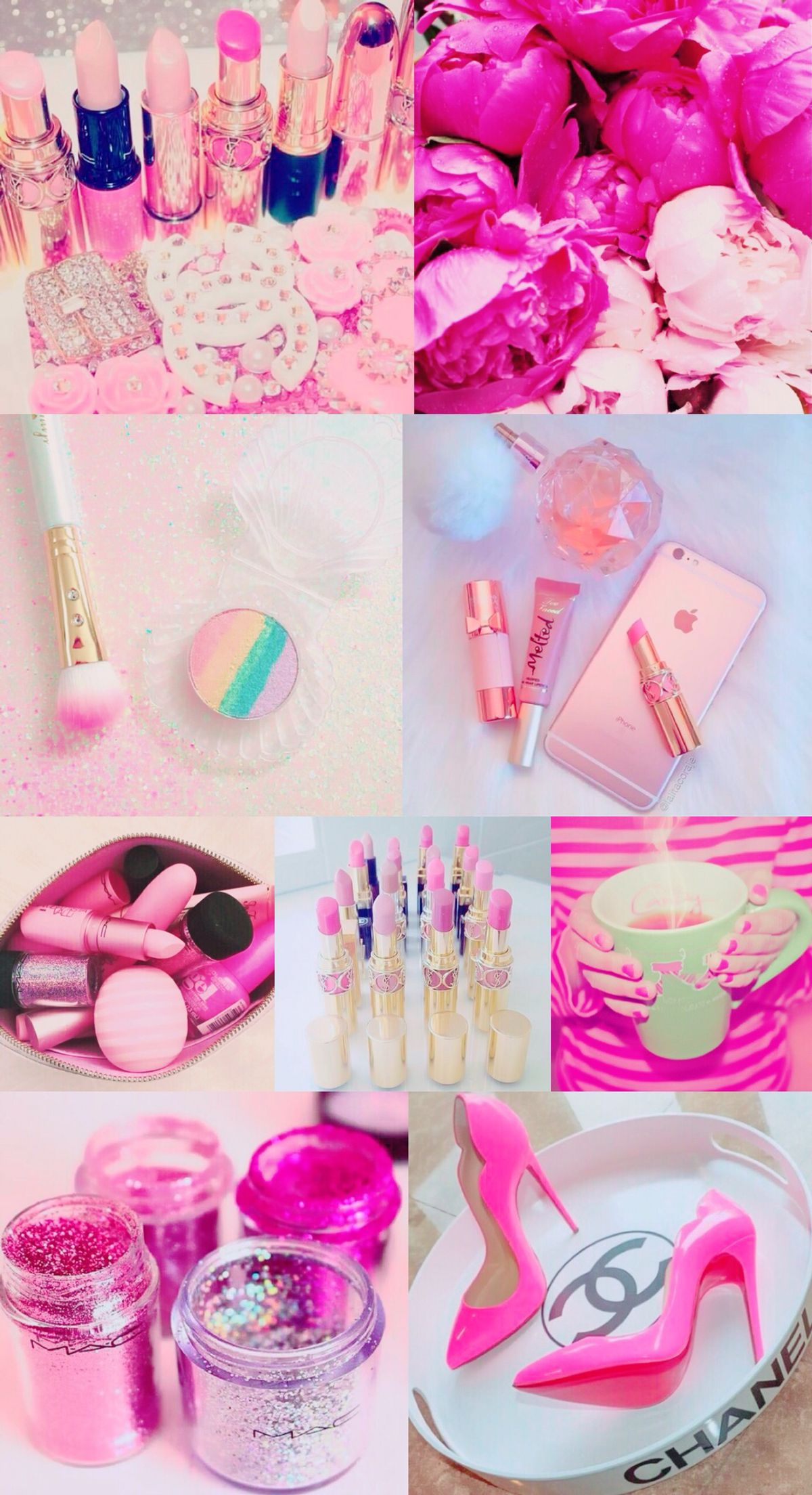 Pink collage wallpaper, background, iPhone, pretty, girly