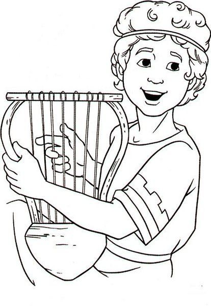 david plays the harp – coloring page  sundayschoolist