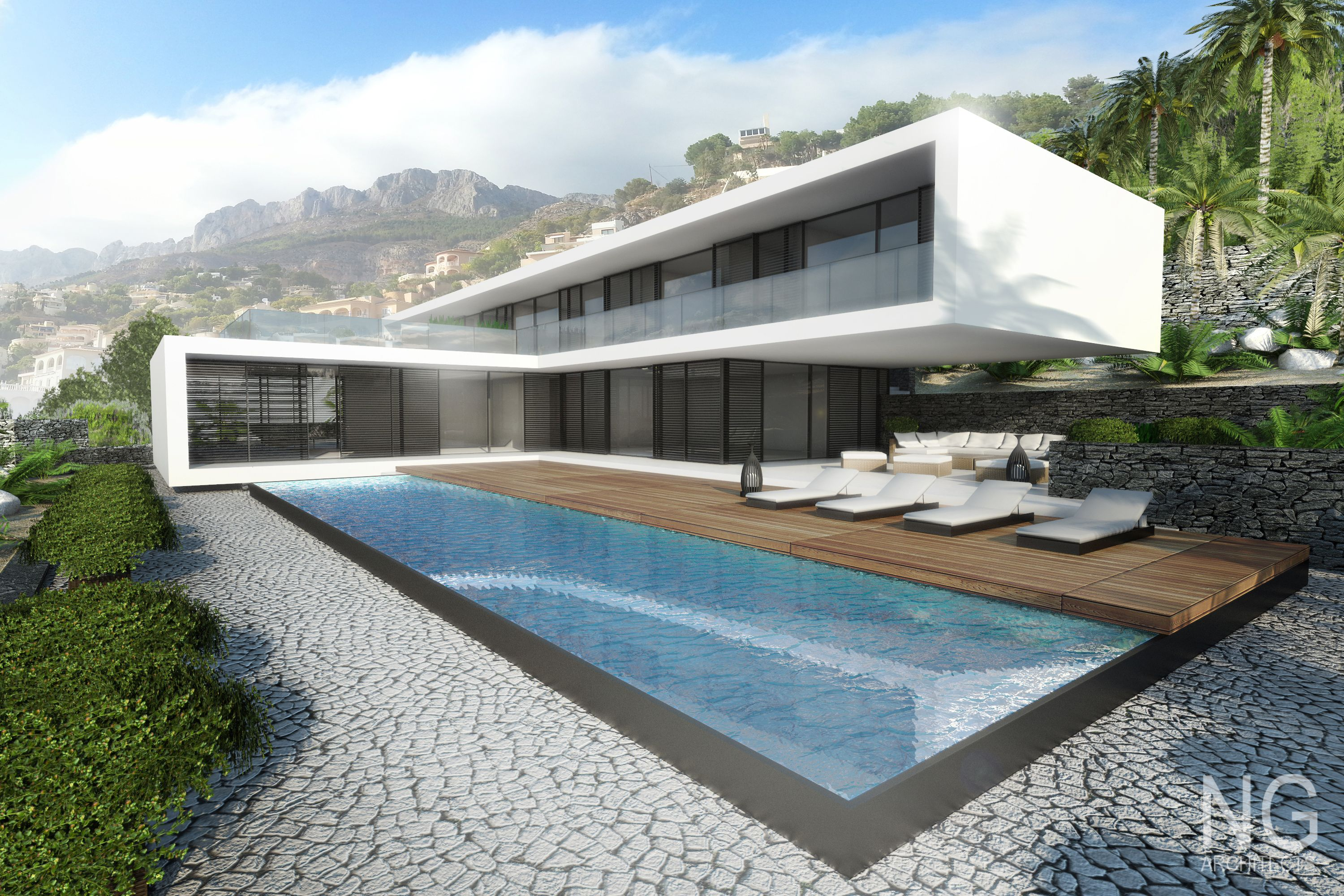 4 bedroom modern luxury beachfront villa alocated in altea for Villas modernes architecture