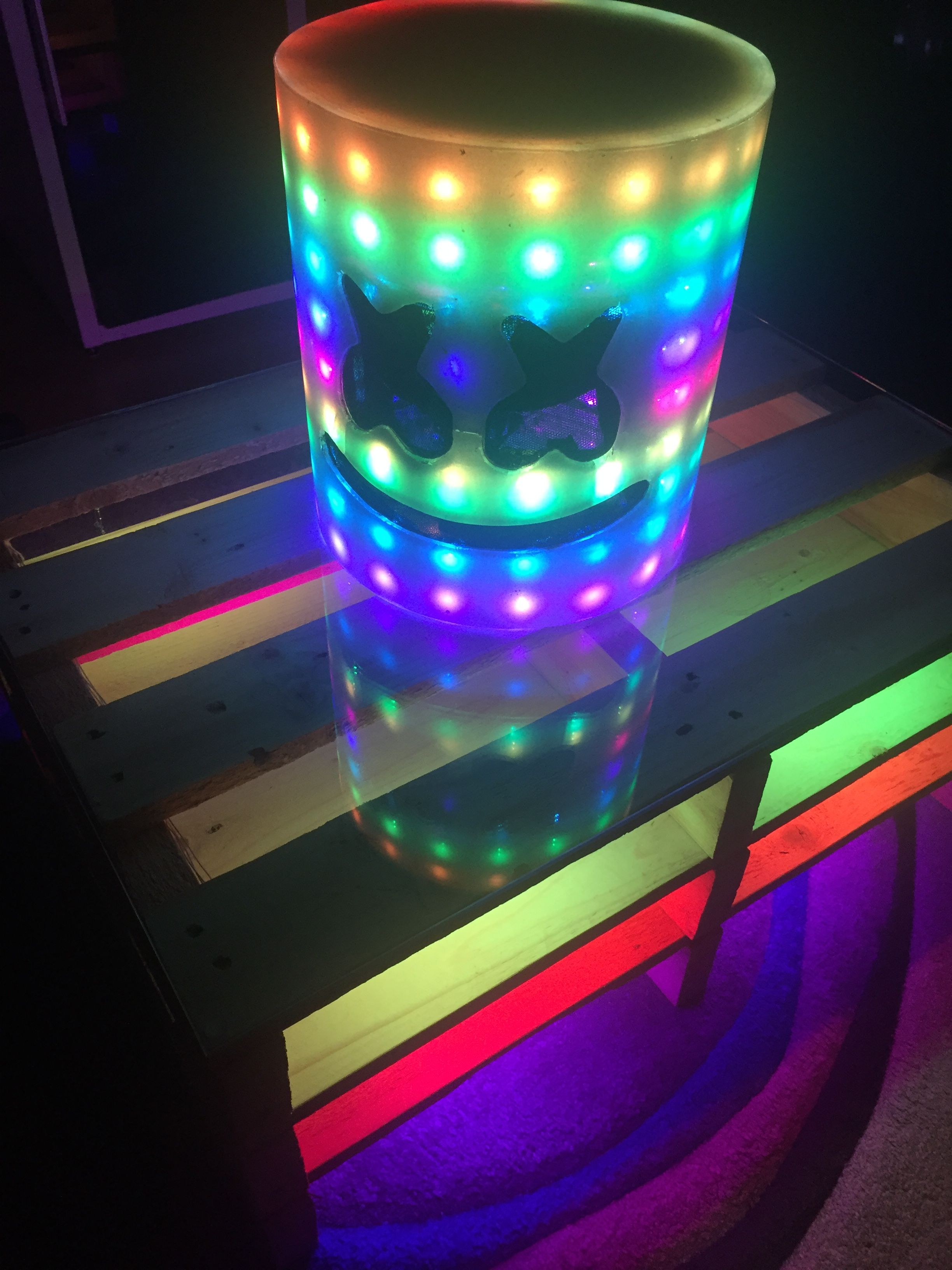 Neopixel-LEDs inside the Table and the Marshmello helmet